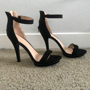 Wild Diva Black Felt Strap Heels